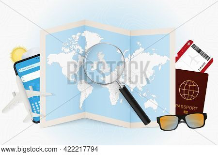 Travel Destination United Kingdom, Tourism Mockup With Travel Equipment And World Map With Magnifyin