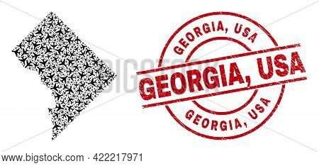 Georgia, Usa Scratched Stamp, And Washington District Columbia Map Collage Of Airliner Elements. Col