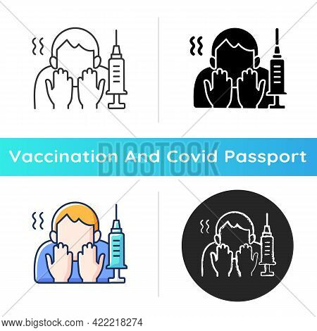 Fear Of Vaccination Icon. Phobia Of Injection. Afraid Of Syringe Needles. Health Treatment Problem.