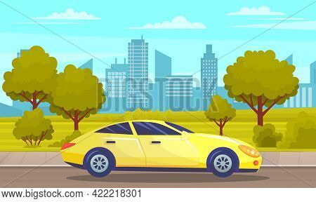 Yellow Car Drive On Road In City Against Tall Buildings And Alley With Large Trees. Urban Road Summe