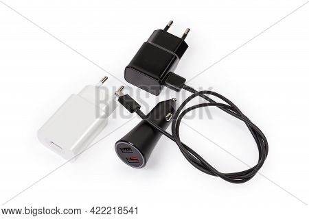Usb Chargers Of Electronic Portable Devices With Ac Europlugs And Connected Appropriate Cable, Usb C