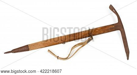 Vintage Ice Axe With Wooden Handle And Rusty Steel Head And Spike Made In 66 Of The Last Century, Pr
