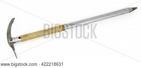Old Ice Axe With Long Aluminum Shaft With Plastic Grip And Steel Head And Spike, Manufactured At The