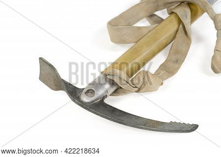 Steel Head Of An Old Ice Axe With Aluminum Shaft With Plastic Grip, Manufactured At The End Of The L