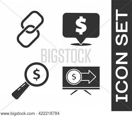 Set Monitor With Dollar, Chain Link, Magnifying Glass And Dollar And Speech Bubble With Dollar Icon.