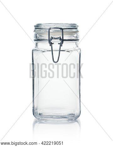 Empty Glass Jar Isolated On White Background.