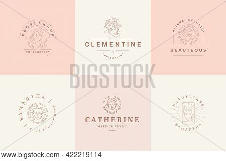 Feminine Logos Emblems Design Templates Set With Magic Female Portraits Vector Illustrations Minimal
