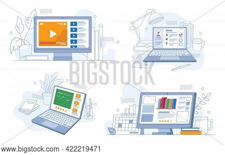 Online Webinars Trainings And Work, E-learning Set, Flat Cartoon. Video Tutorials, Tests On Distance