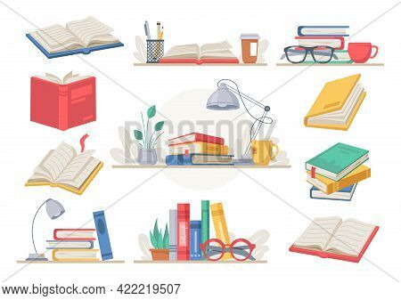 Stack Of Books, Stationery And Glasses, Lamp, Tea And Coffee Cup, Lamp And Plant In Pot Isolated. De