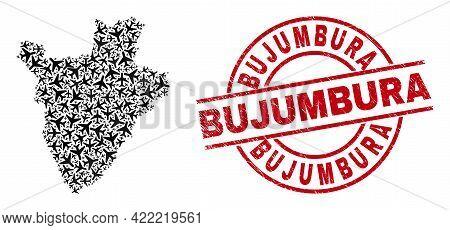 Bujumbura Rubber Seal, And Burundi Map Mosaic Of Air Plane Elements. Collage Burundi Map Designed Wi