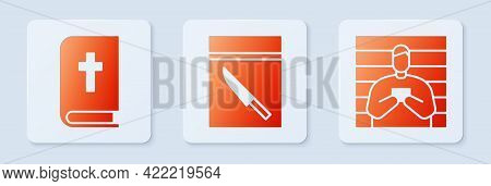 Set Evidence Bag And Knife, Holy Bible Book And Suspect Criminal. White Square Button. Vector