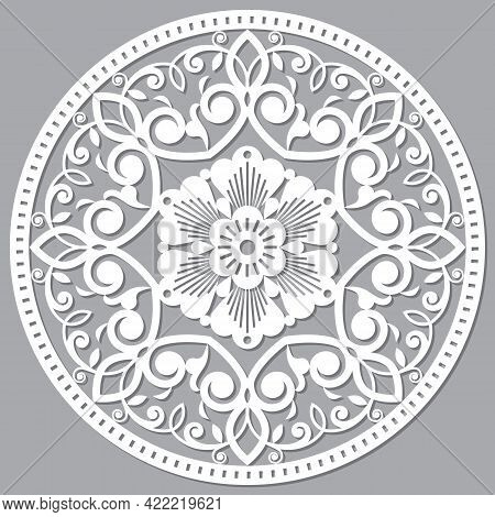 Moroccan Mandala Vector Floral Pattern, Inspired By The Traditional Openwork Arabic Carved Wood Wall