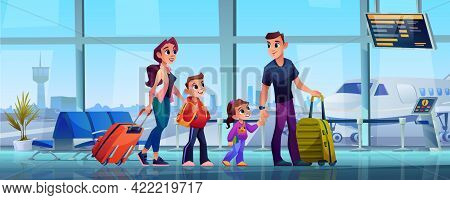 Traveling Family And Airport, Mother, Father And Children With Luggage In Airport Terminal. Parents