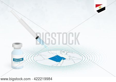 Covid-19 Vaccination In Egypt, Coronavirus Vaccination Illustration With Vaccine Bottle And Syringe