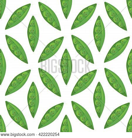 Super Cute Seamless Pattern With Vegetables - Tasty Green Peas. Fresh Peas In Cartoon Style Hand Dra