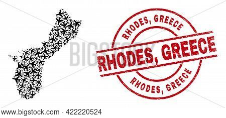 Rhodes, Greece Rubber Seal, And Guam Island Map Mosaic Of Aircraft Items. Mosaic Guam Island Map Des