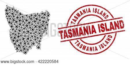 Tasmania Island Rubber Badge, And Tasmania Island Map Collage Of Airliner Items. Mosaic Tasmania Isl