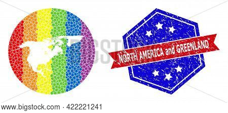 Dotted Spectrum Map Of North America And Greenland Collage Designed With Circle And Carved Shape, An