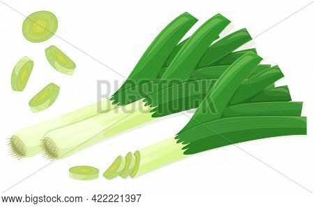 Leek Set In Flat Cartoon Style. Single Whole And Group Vegetables With Cuts. Flying Leeks Cuts. Farm
