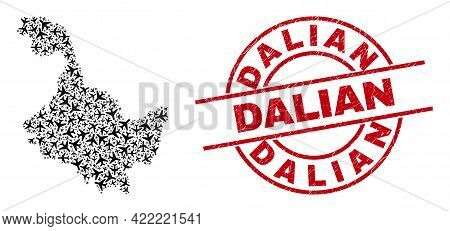 Dalian Grunged Seal Stamp, And Heilongjiang Province Map Mosaic Of Jet Vehicle Items. Mosaic Heilong