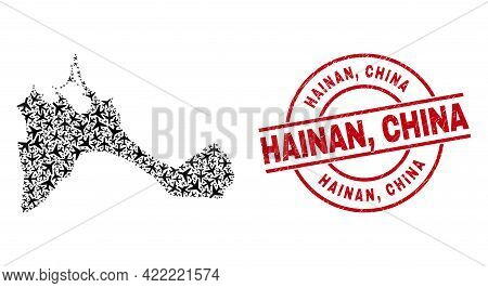 Hainan, China Scratched Badge, And Formentera Island Map Collage Of Aeroplane Elements. Collage Form