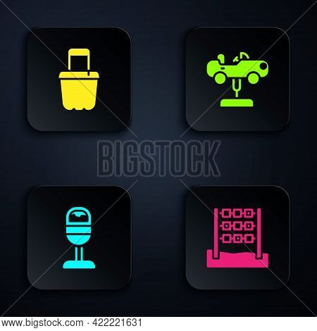 Set Tic Tac Toe Game, Sand In Bucket, Trash Can And Swing Car. Black Square Button. Vector