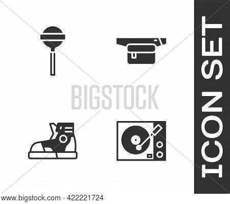 Set Vinyl Player, Lollipop, Sport Sneakers And Waist Bag Of Banana Icon. Vector