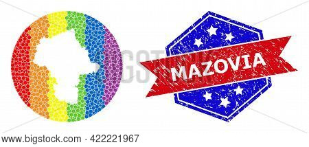 Dot Spectrum Map Of Mazovia Province Mosaic Designed With Circle And Stencil, And Textured Stamp. Lg