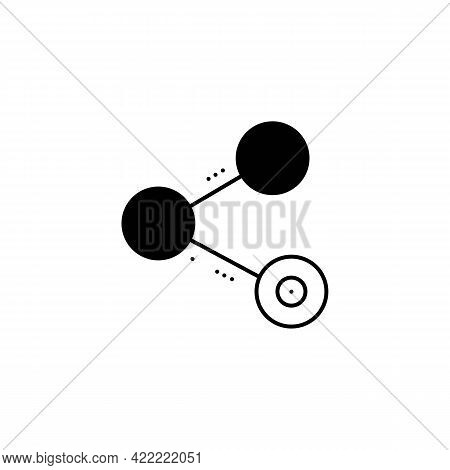 Share Or Send Line Icon In Black. Sharing Outline Simple Logotype. Trendy Flat Style Isolated Symbol