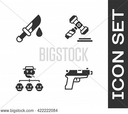 Set Pistol Or Gun, Bloody Knife, Mafia And Judge Gavel Icon. Vector