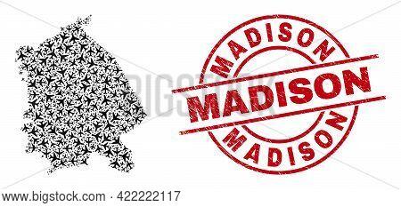 Madison Rubber Seal Stamp, And Pavlodar Region Map Mosaic Of Aircraft Items. Mosaic Pavlodar Region