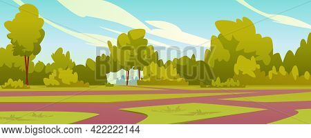 Trees And Bushes In Park With Paths, Landscape Of Yard With Lush Greenery, Forest Or Woods. Idyllic