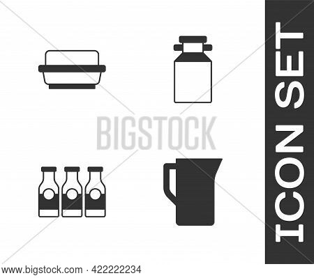 Set Milk Jug Or Pitcher, Butter In A Butter Dish, Bottle With Milk And Can Container For Icon. Vecto