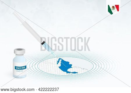 Covid-19 Vaccination In Mexico, Coronavirus Vaccination Illustration With Vaccine Bottle And Syringe