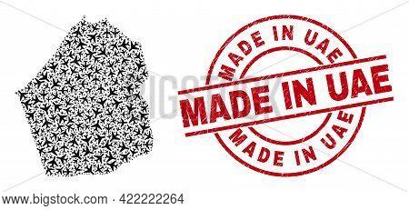 Made In Uae Scratched Seal, And Dubai Emirate Map Mosaic Of Jet Vehicle Elements. Mosaic Dubai Emira