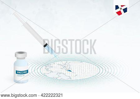 Covid-19 Vaccination In Dominican Republic, Coronavirus Vaccination Illustration With Vaccine Bottle