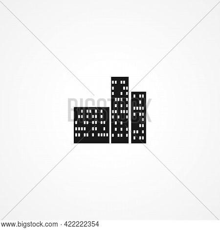 Night City Skyscraper Simple Isolated Vector Icon. Night City Skyscraper Simple Isolated Vector Icon