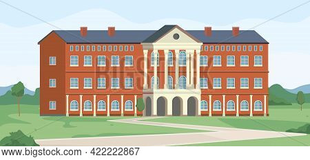 Campus Of University Building, College Institution Landscape Scenery Flat Cartoon Background. Vector