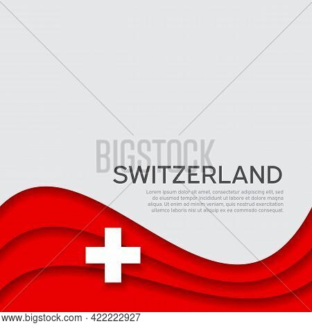 Abstract Waving Switzerland Flag. Paper Cut Style. Creative Background For The Design Of Patriotic S