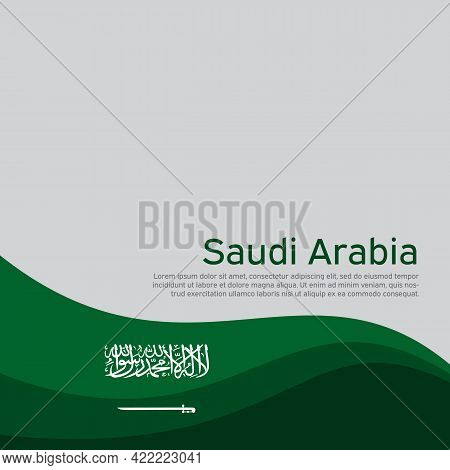 Abstract Waving Saudi Arabia Flag. Creative Background For The Design Of Patriotic Holiday Cards. Na