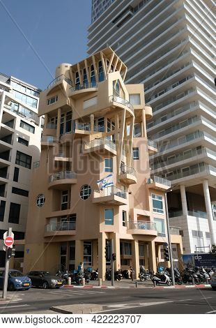 Tel-aviv, Israel - May 03, 2021: Eclectic House On The Tel Aviv Waterfront, All Apartments Have Sea