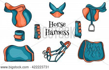 Horse Harness A Set Of Equestrian Equipment Saddle Bridle Blanket Protective Boots In Cartoon Style