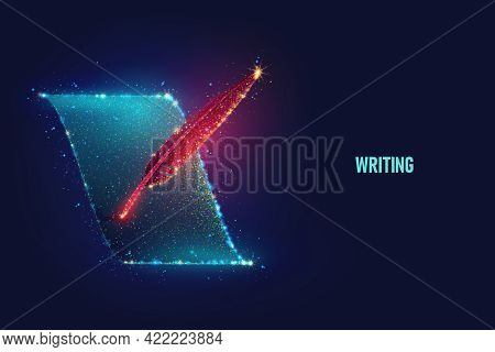 Glowing Red Feather Write On Blue Sheet Of Paper Vector Illustration Made Of Neon Particles. Bright