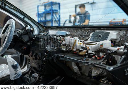 Disassembled car interior, car service concept