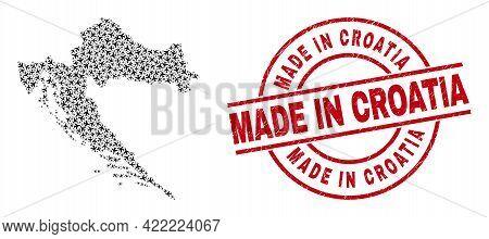 Made In Croatia Rubber Stamp, And Croatia Map Mosaic Of Air Force Items. Mosaic Croatia Map Created