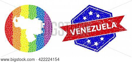Pixel Spectral Map Of Venezuela Collage Designed With Circle And Cut Out Shape, And Distress Seal St