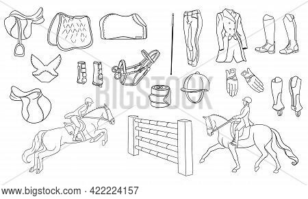 Big Set Of Equipment For The Rider And Ammunition For The Horse Rider On Horse Illustration In Line