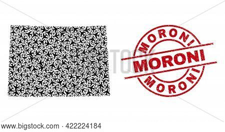 Moroni Rubber Seal Stamp, And Colorado State Map Collage Of Air Plane Elements. Collage Colorado Sta