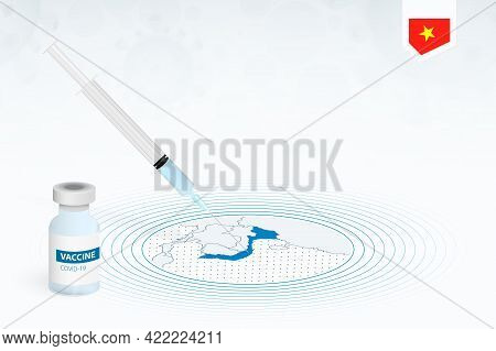 Covid-19 Vaccination In Vietnam, Coronavirus Vaccination Illustration With Vaccine Bottle And Syring