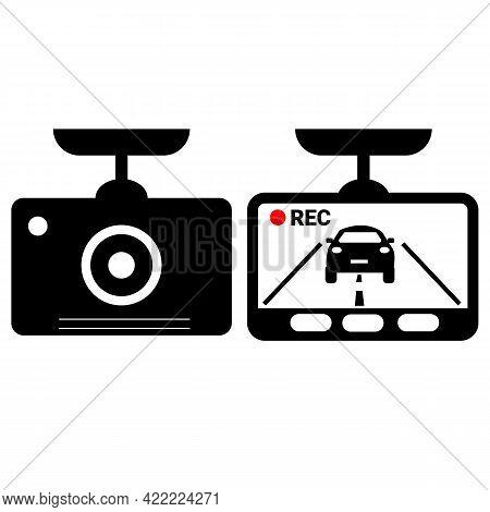 Drive Recorder Sign. Car Dash Cam Icon. Dvr Camera Symbol. Dash Camp Icon Set. Flat Style.